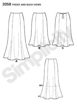 2058 Simplicity Pattern: Misses' and Plus Size Amazing Fit Skirt
